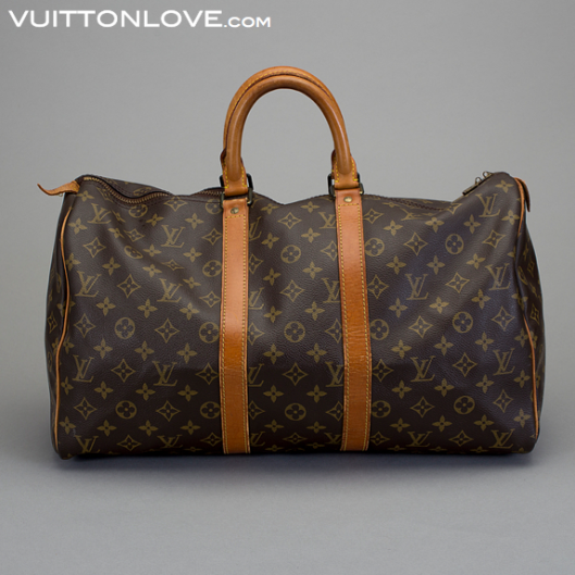 Vintage Louis Vuitton väska weekendbag Keepall Monogram Canvas Vuitton Love